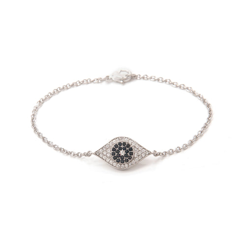 Simulated Diamond Evil Eye Bracelet