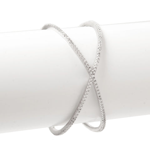 Simulated Diamond Criss-Cross Cuff Bracelet