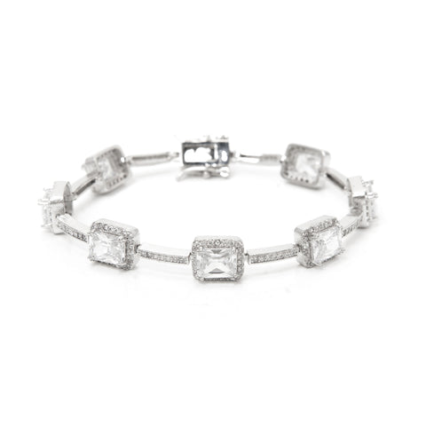 Simulated Diamond Halo Station Bracelet