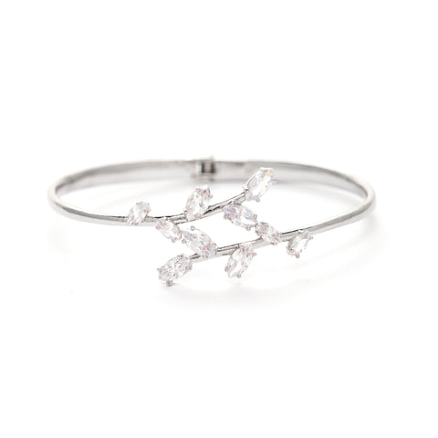 Rhodium Marquise CZ Bangle