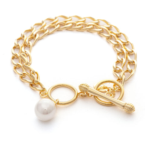 Double Chain Pearl + Toggle Bracelet