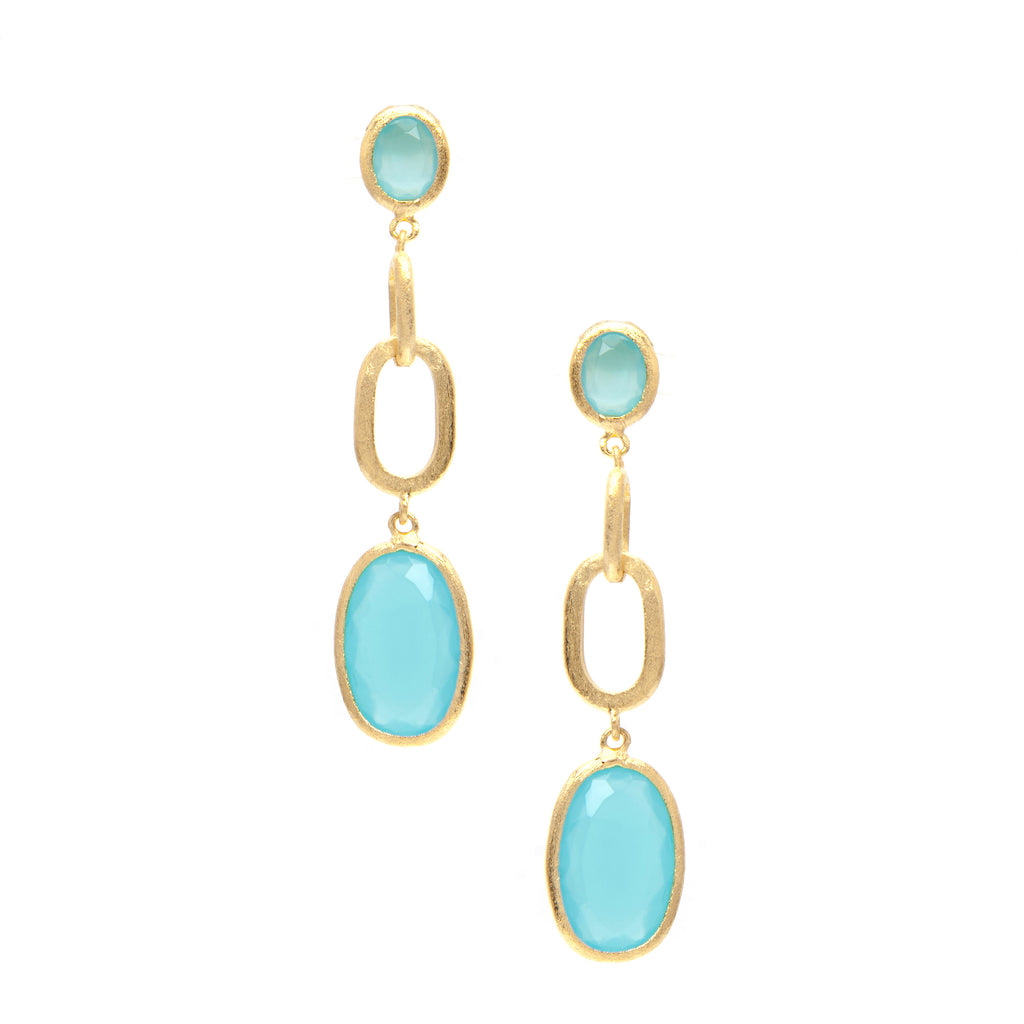 Mint Chalcedony Drop Earrings
