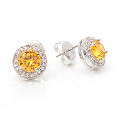 Simulated White & Canary Diamond Halo Round Stud Earrings