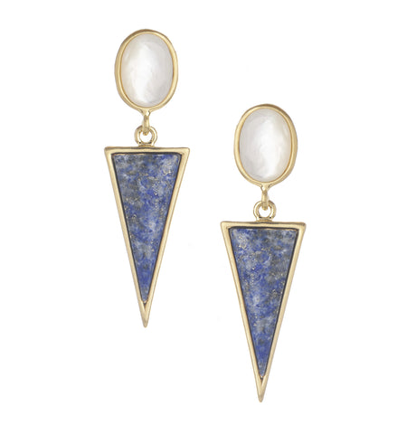 Mother of Pearl + Lapis Earrings