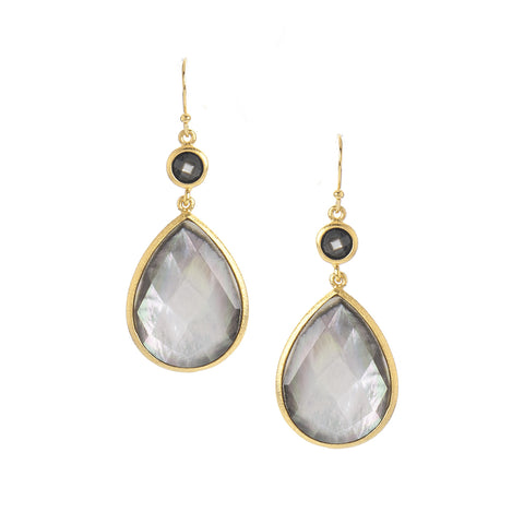 Black Mother of Pearl Drop Earrings