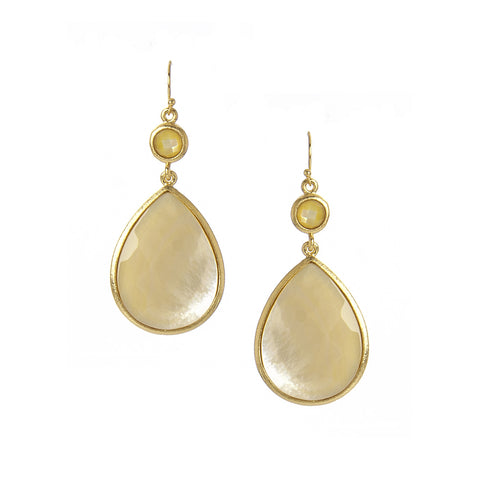 Golden Mother of Pearl Drop Earrings