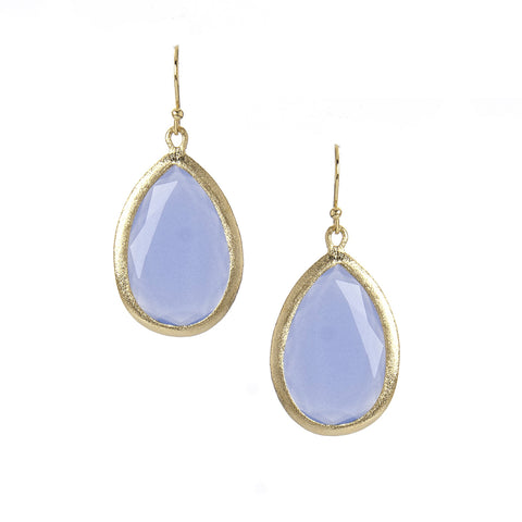 Blue Chalcedony Teardrop Earrings