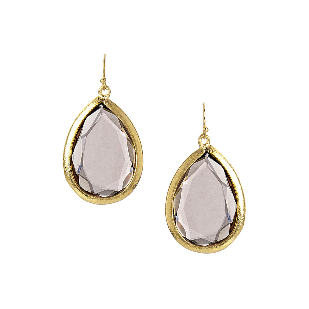 Blush Crystal Teardrop Earrings - Closeout