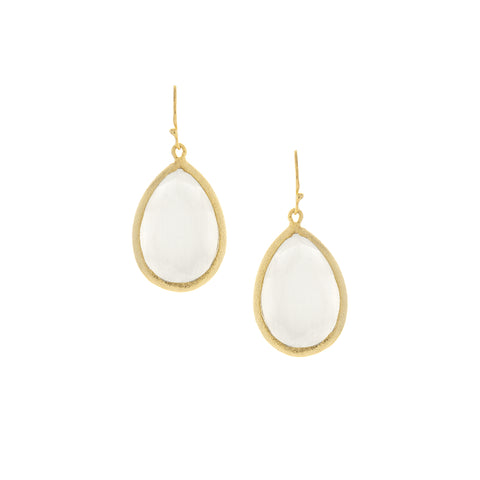 White Cat's Eye Crystal Teardrop Earrings