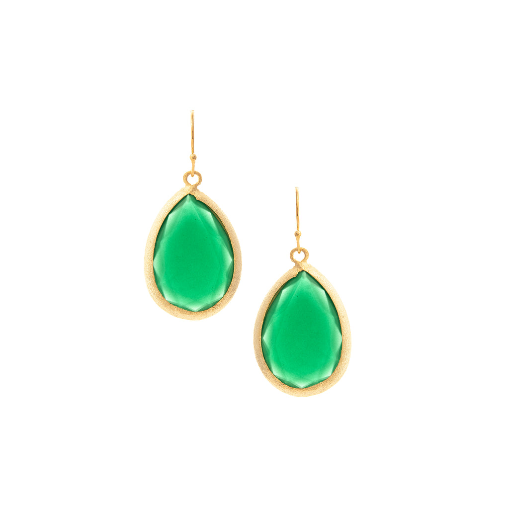Jade Chalcedony Teardrop Earrings
