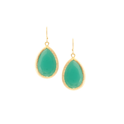 Mint Chalcedony Teardrop Earrings