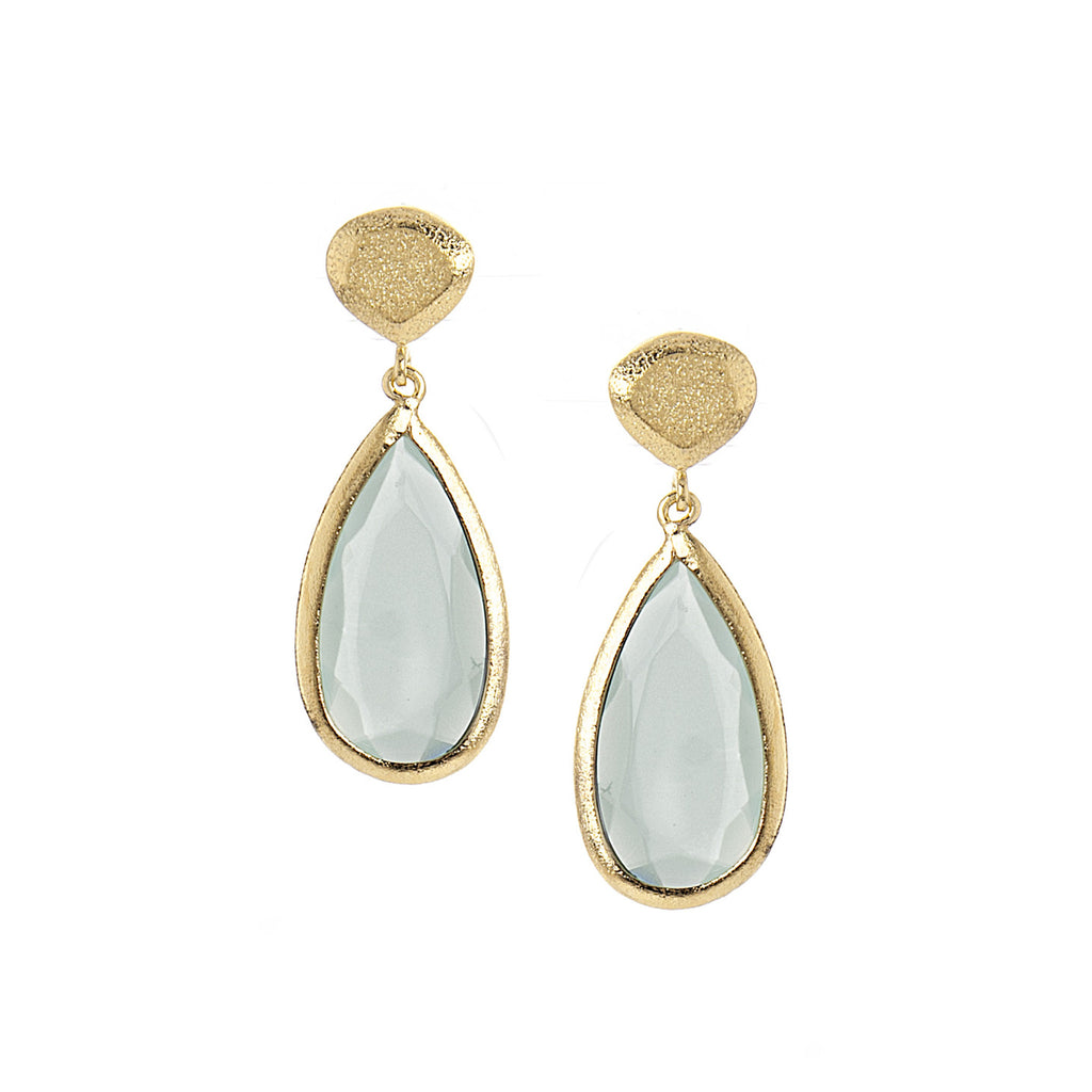 Green Chalcedony + Satin Pebble Teardrop Earrings
