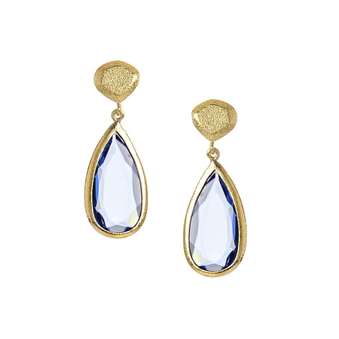 Swiss Blue + Satin Pebble Teardrop Earrings