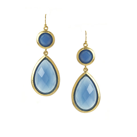 Blue Onyx Double Drop Earrings - Closeout