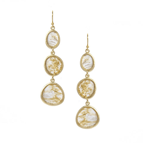 Golden Rutilated Triple Drop Earrings