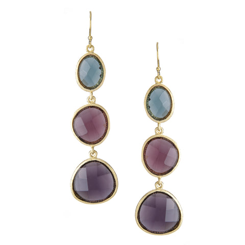 Denim + Tourmaline + Amethyst Triple Cascading Earrings
