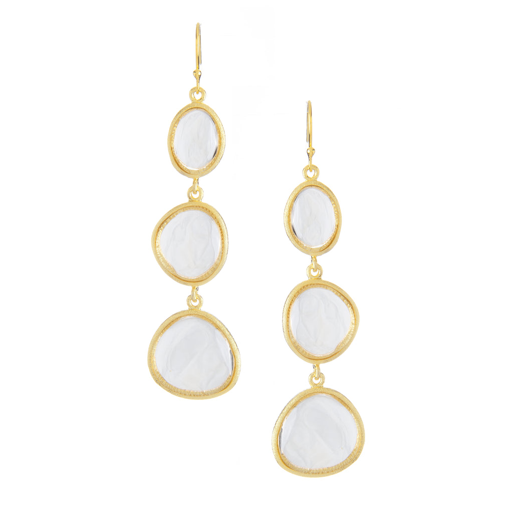 Rock Crystal Triple Cascading Earrings
