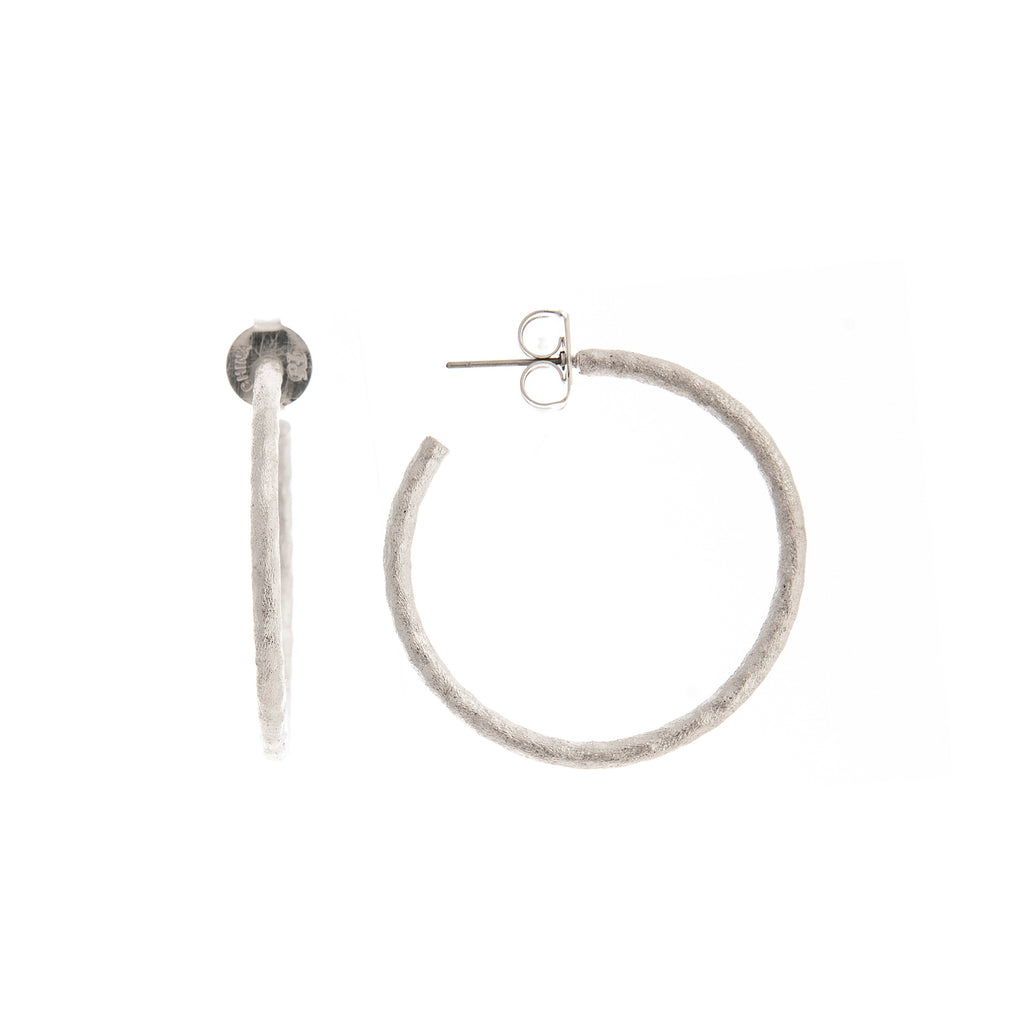 Rhodium Hammered Satin Hoops 1.5""
