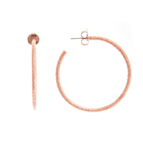 "Rose Gold Hammered 2"" Hoop Earrings"