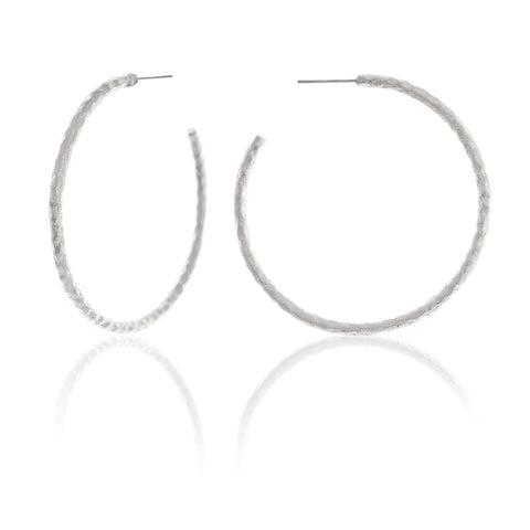 "White Rhodium Hammered 2"" Hoop Earrings"