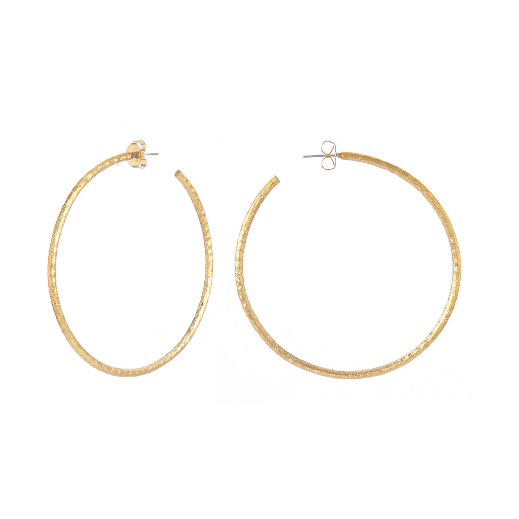 Textured Satin Hoop Earrings 3""