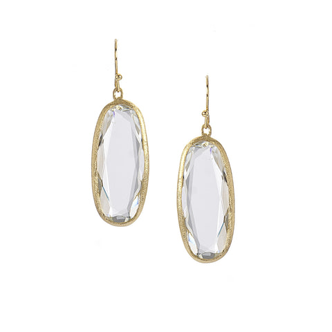 Rock Crystal Oval Drop Earrings
