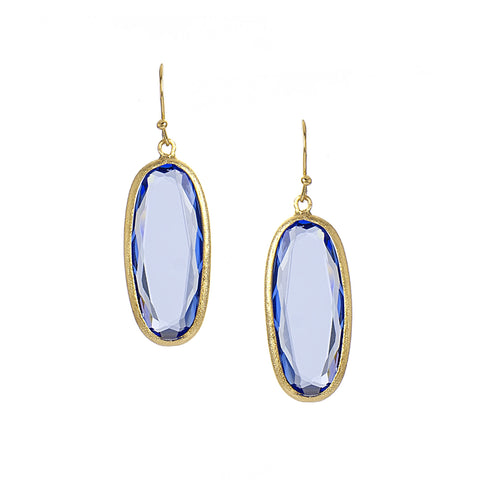 Swiss Blue Oval Drop Earrings