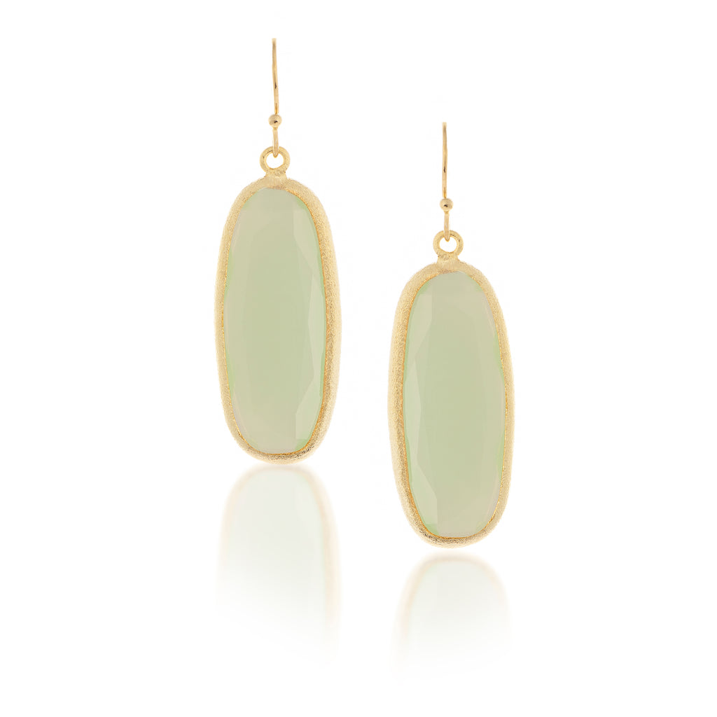 Aqua Chalcedony Oval Drop Earrings