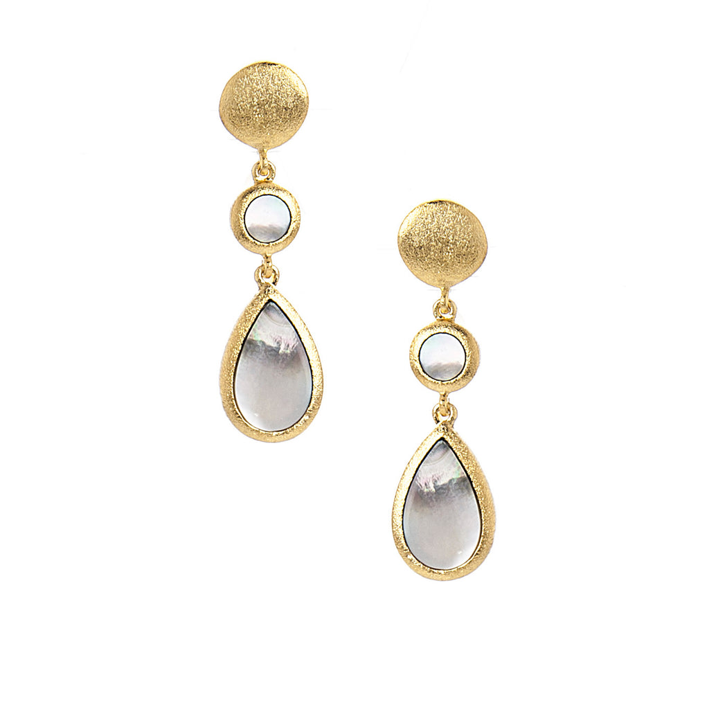 Black Mother of Pearl Double Drop Dangles - Closeout