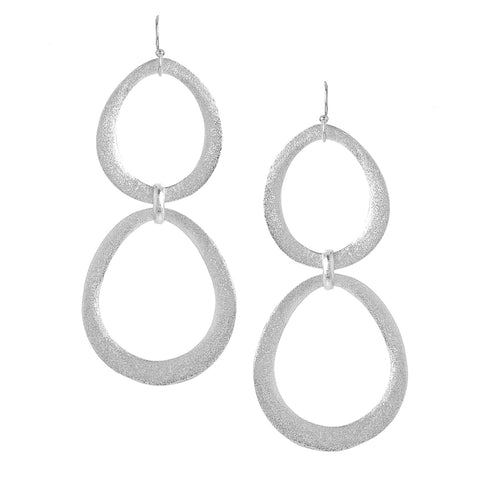 White Rhodium Organic Cascading Station Graduated Earrings