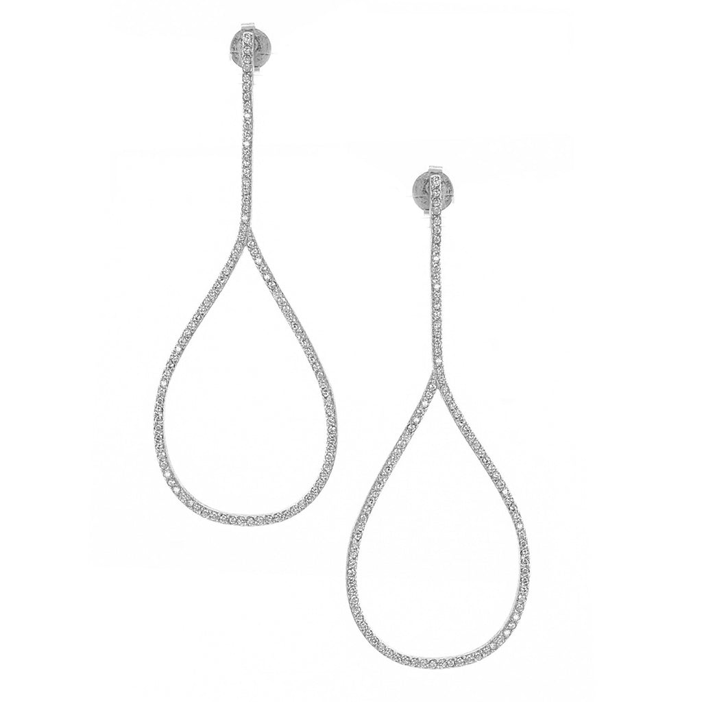 Rhodium Simulated Diamond Drop Earrings