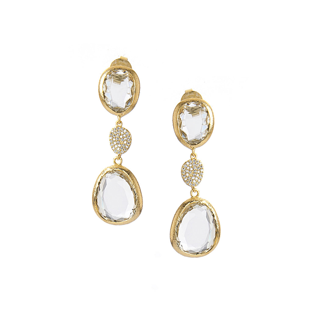 Rock Crystal + CZ Dangle Earrings - Closeout
