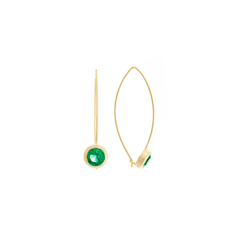 Emerald Bezel Drop Earrings