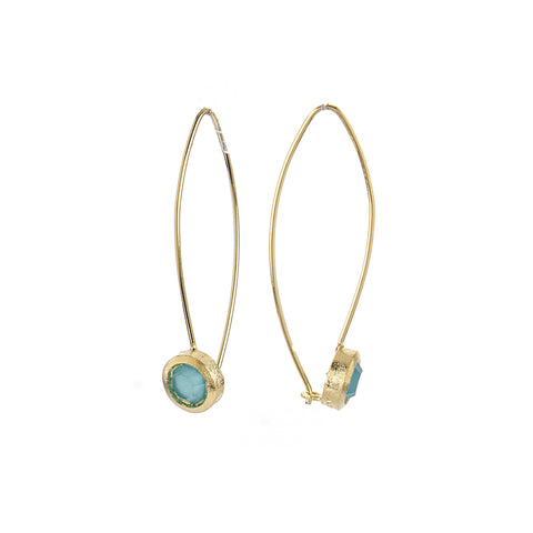 Mint Chalcedony Crystal Bezel Drop Earrings
