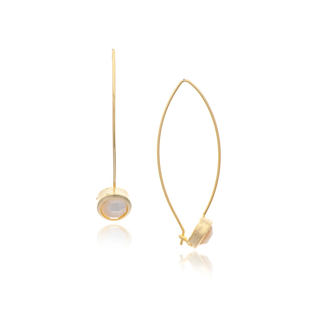 Mother of Pearl Bezel Drop Earrings