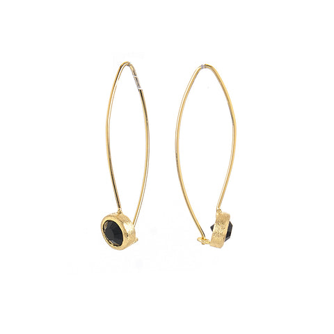 Onyx Bezel Drop Earrings