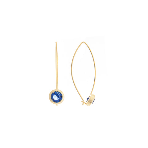 Sapphire Bezel Drop Earrings