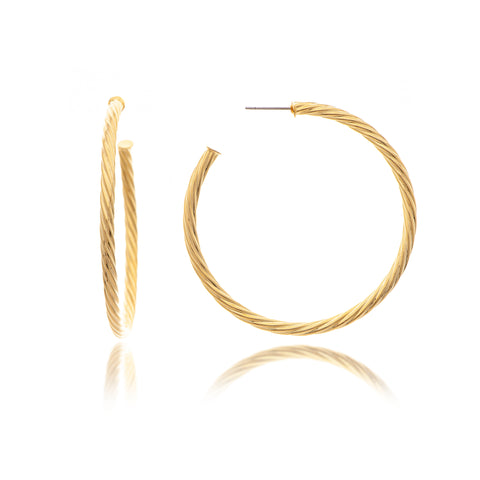Polished Twisted 3/4 Hoop Earrings