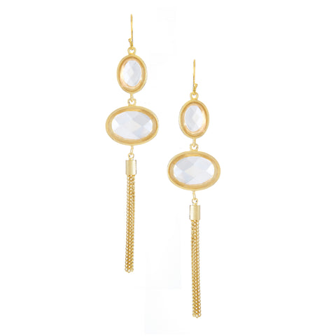 Rock Crystal + Tassel Drop Earrings