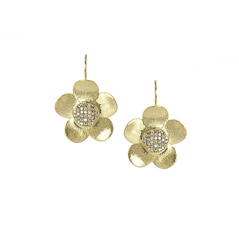 Simulated Diamond Flower Earrings