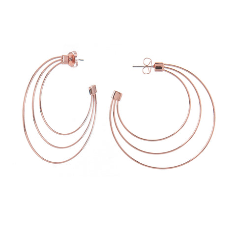 Rose Gold Three Row Hoop Earring