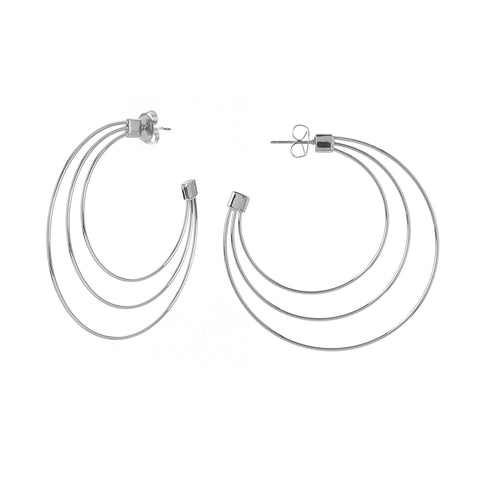 Rhodium Three Row Hoop Earring