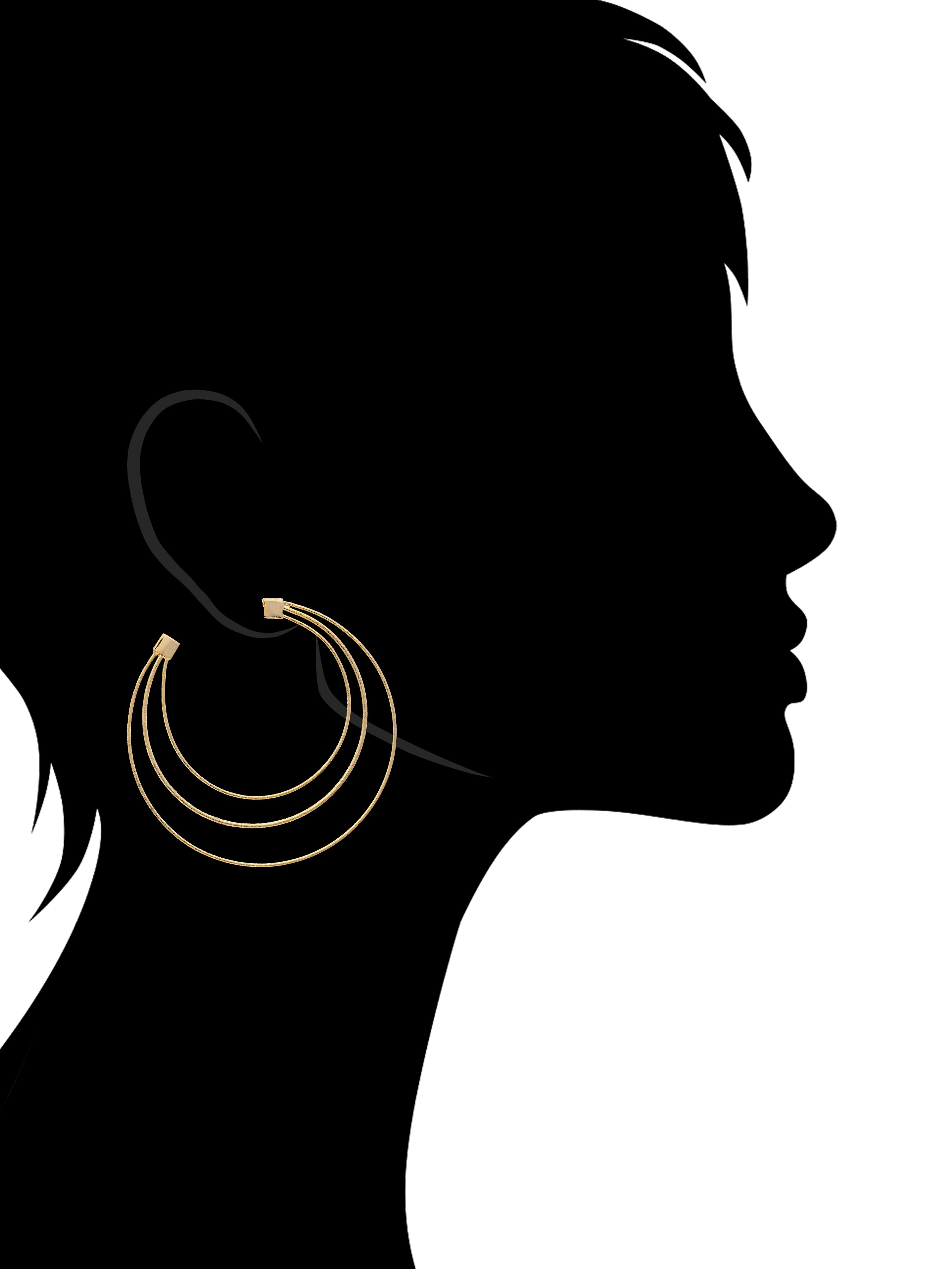 Three Row Hoop Earring