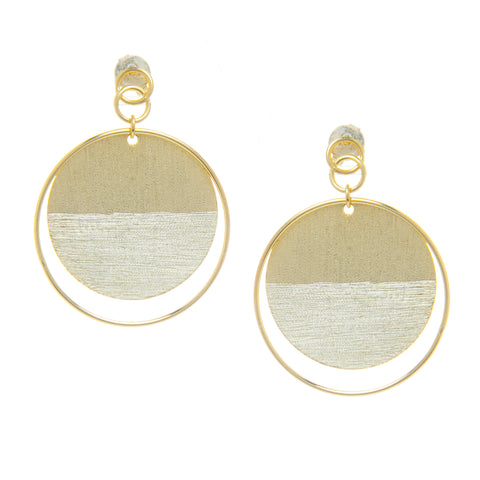 Contrasting Texture Circle Dangles