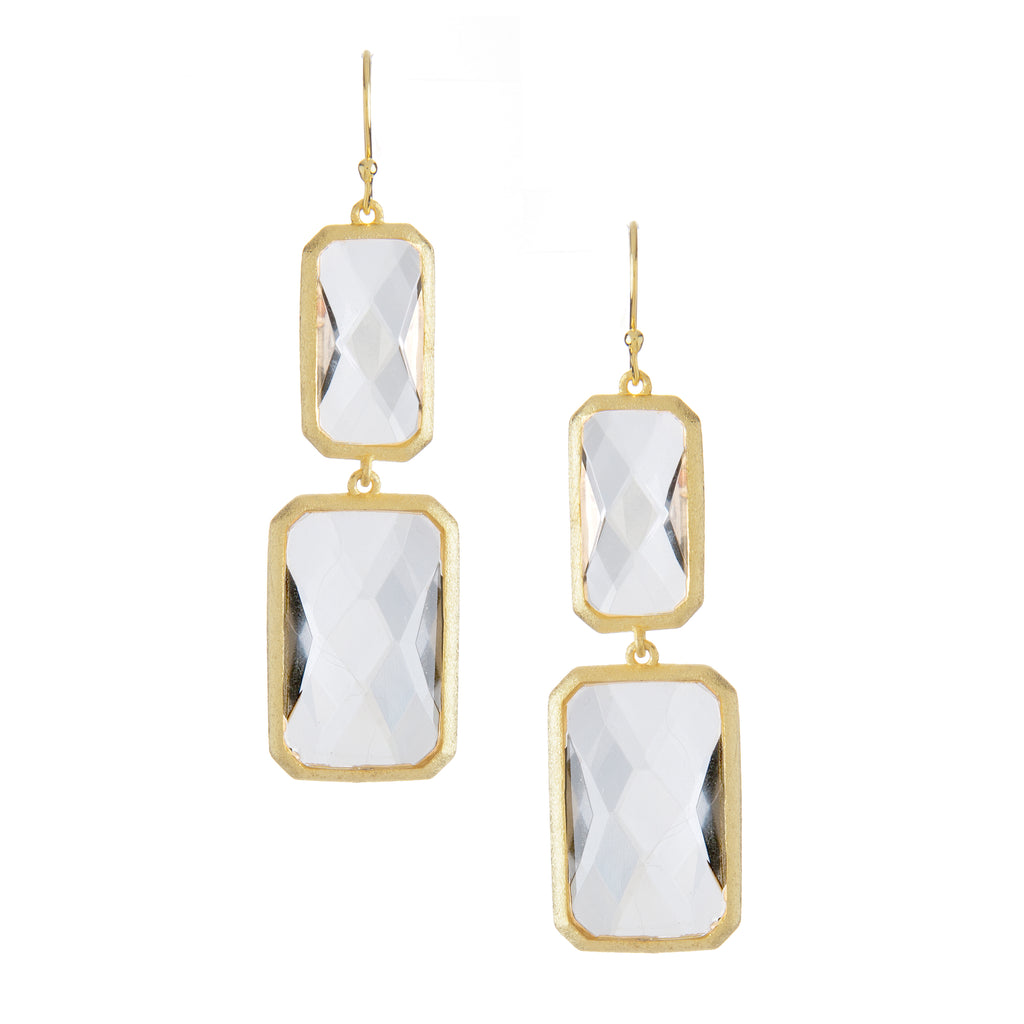 Rock Crystal Double Drop Earrings