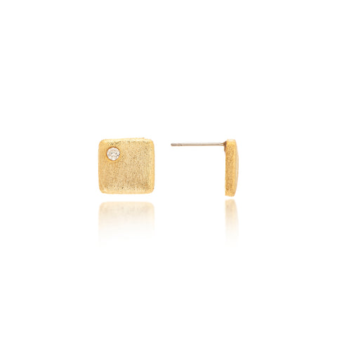 Satin CZ Square Stud Earrings