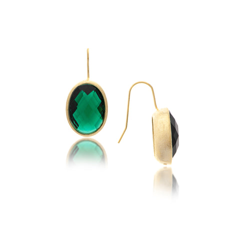 Emerald Oval Bezel Drop Earrings