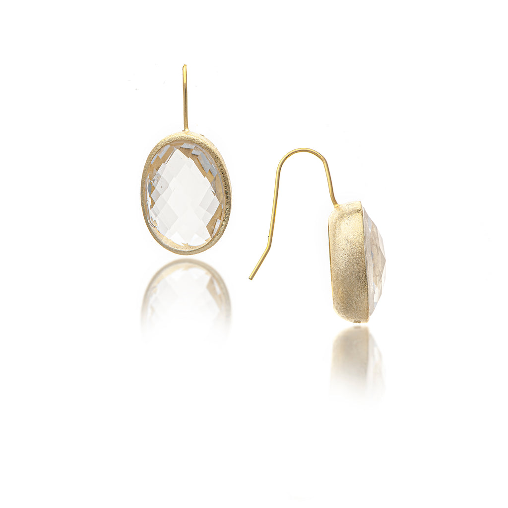 Rock Crystal Oval Bezel Drop Earrings