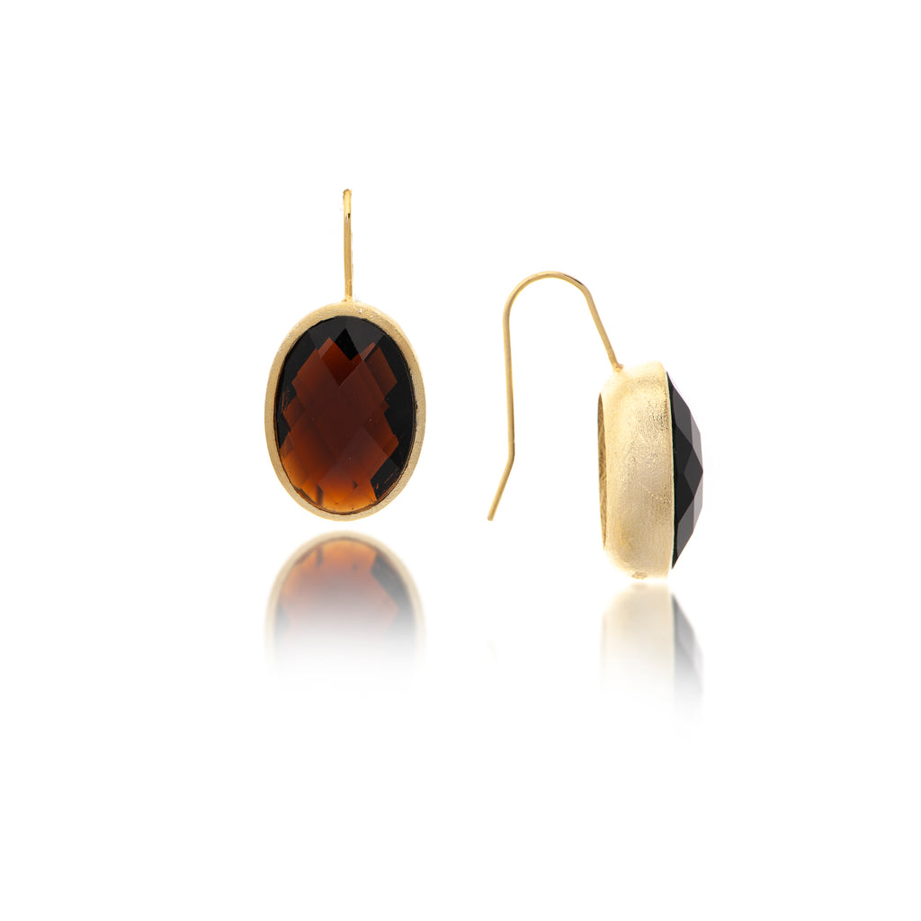 Smokey Oval Bezel Drop Earrings