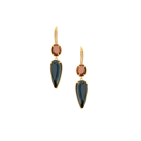 Amethyst + Denim Double Drop Earrings